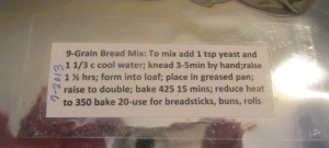 bread mix label